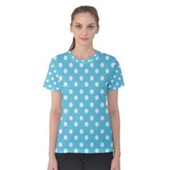 Sky Blue Polka Dots Women s Cotton Tees
