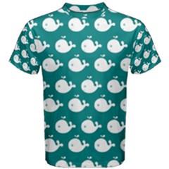 Cute Whale Illustration Pattern Men s Cotton Tees