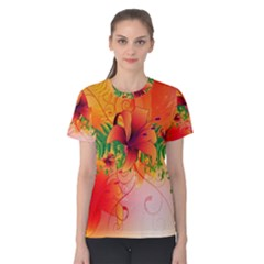 Awesome Red Flowers With Leaves Women s Cotton Tees